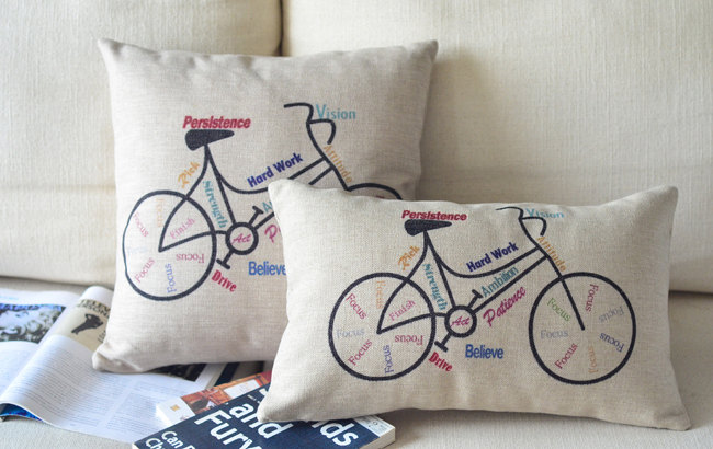 on sale bike pillowcase cotton linen pillow cover word print